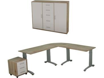 Priess Luna Büro Schreibtisch mit Rollcountainer und Kommode in San Remo Eiche mit Frontausführung Lichtweiß Griffe Nickel matt