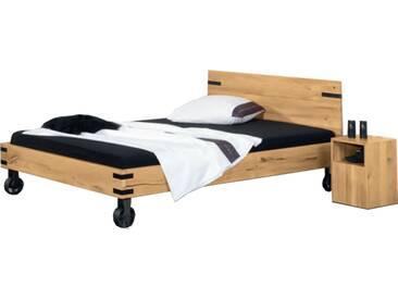 Neue Modular Primolar Natura plus Bett mit Kopfteil Monte und Füße Industrial aus Wildeiche Massivholz natur geölt Liegefläche ca.180x200 cm optional mit Hocker Lamezia