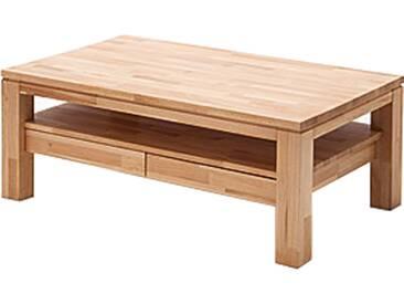 MCA furniture Couchtisch Gordon Kernbuche Massivholz keilverzinkt gewachst-geölt mit Ablage und 2 Schubkästen Art.Nr. 58721KB5 Tisch für Ihr Wohnzimmer