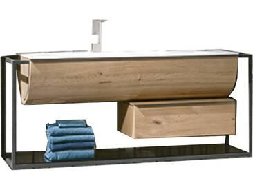 Voglauer V-Quell Badezimmer-Einrichtung Waschtischkombination mit Doppelwaschtischunterschrank Unterschrank und Möbelwaschtisch Korpus und Front Alteiche rustiko echtholzfurniert