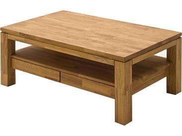 MCA furniture Couchtisch Gordon Asteiche Massivholz keilverzinkt gewachst-geölt Art.Nr. 58721E5 mit Ablage und 2 Schubkästen Stubentisch für Ihr Wohnzimmer