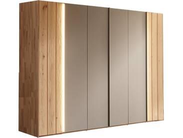 Thielemeyer Lava Drehtürenschrank 6-türig Ausführung Naturbuche mit 2 Massivholztüren außen und 4 Colorglastüren in grau mittig  optional mit LED-Griffbeleuchtung