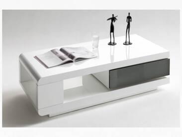 MCA Furniture Couchtisch Art.Nr.: 59031WG4 in Hochglanz weiß lackiert mit zusätzlicher Ablage und Schubkasten grau lackiert für Ihr Wohnzimmer