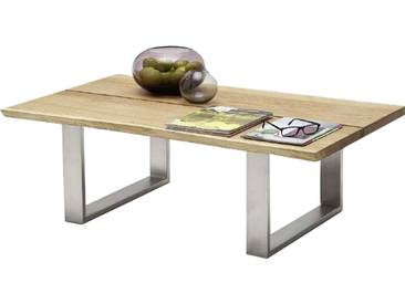 MCA furniture Couchtisch Sandro Asteiche Massivholz geölt und gewachst mit Metallgestell Art.Nr. 58770EIA Tischplatte mit durchgehender Lamelle und Baumkante Gestell Edelstahloptik gebürstet Beistelltisch für Ihr Wohnzimmer oder Gästezimmer
