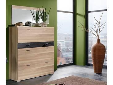 Wittenbreder Woody plus Schuhschrank 316 für Flur und Garderobe mit oder ohne Spiegel; Schrank Flurschrank Furnier matt