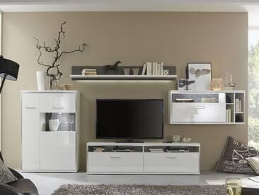 MCA Furniture Trento Wohnwand Kombination Front Hochglanz weiß, Korpus weiß Nachbildung mit edelstahlfarbigen Metallrahmen