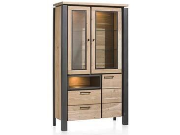 Habufa Charleston Vitrine 36186 mit 2 Glastüren 1 Tür 2 Schubladen und 1 Nischen inklusive LED Beleuchtung für Ihr Wohnzimmer oder Esszimmer