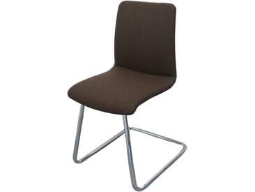 Ronald Schmitt Design 4-er Set Stuhl TETRA RST 61 ***AM LAGER*** Freischwinger Oberfläche Mischgewebe Dunkelbraun und Gestell Rundrohr Hochglanz verchromt ***AM LAGER***
