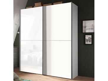 Nolte Express Möbel One 310 Schwebetürenschrank 2-türig Teilfront mit Glasauflage Weiß und Tür in Dekor wie Korpus und mittiger Zierleiste ,Schrankbreite und -höhe wählbar