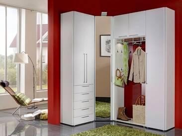 Wittenbreder Entree komplette Garderobe Vorschlagskombination 02 für Flur mit Spiegel Eckschrank, Hochschrank, Schuhschrank; Schrank in Weiss Lack