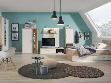 Priess Achat Schlafzimmer 4-teilig Kastenbett TV-Elemente Kleiderschrank in Sonoma Eiche und Lichtweiß