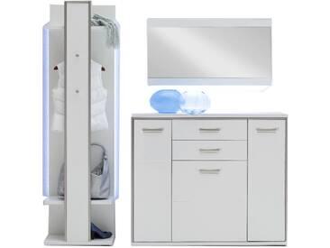 MCA Furniture Trento Garderobenkombination 2 Front Hochglanz weiß Korpus weiß Nachbildung mit Rahmen in Edelstahloptik für Ihre Diele