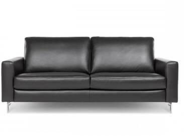 Willi Schillig Einzelsofa AleXx 22850 mit schwarzen Longlife-Leder und glänzenden Metallfüßen