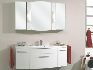 Pelipal Huevo 1 Badmöbel Badblock mit Waschtisch Mineral-Marmor weiß, Spiegelschrank und Unterschrank ca. 1300 mm