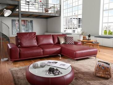 Willi Schillig Ecksofa Sixty-SiXx 16550 Kombination bestehend aus: Sofa groß und Longchair mit Sitztiefenverstellung Leder bordeaux rot inklusive einem Rückenkissen und chromglänzenden Metallfüßen
