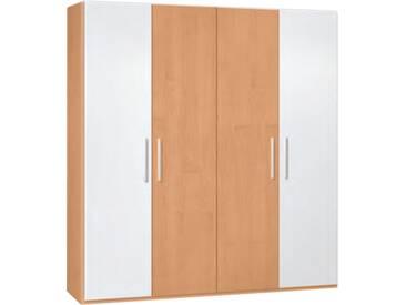 Neue Modular Primolar Luca 4-türiger Drehtürenschrank Korpus Holznachbildung Buche Front 2 Türen Glas weiß lackiert und 2 Türen Holznachbildung Buche