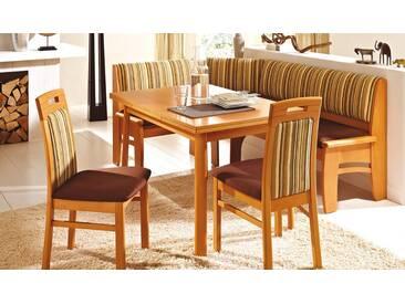 Dkk Klose Kollektion E19 Eckbankgruppe 4-tlg. mit Schaumstoffpolsterung in zwei Holzausführungen bestehend aus Eckbank mit Truhe,Tisch und zwei Stühlen Bezug wählbar