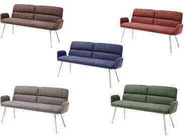 MCA furniture Fida ca. 155 cm breit Sitzbank mit Armlehne Gestell Rundrohr Bezug wählbar für Speisezimmer oder Esszimmer