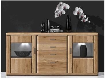 IDEAL-Möbel Sideboard Bruel für Wohnzimmer oder Esszimmer mit Glastüren Front in Eiche Bianco Lamelle Massivholz geölt Korpus Eiche bianco foliert