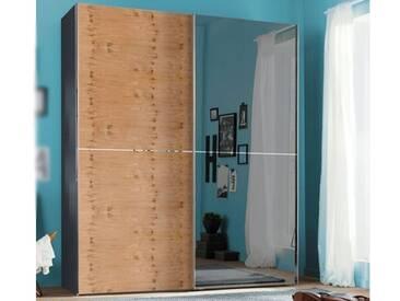 Nolte Express Möbel One 310 Schwebetürenschrank 2-türig Teilfront mit Spiegelauflage rechts und Wildeiche Furnier links und mittiger Zierleiste ,Schrankbreite und -höhe wählbar