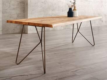 Willi Schillig Tisch Gunnar 41120 moderner Esstisch mit Massivholzplatte in Wildeiche geölt und einem bronzefarbenen Tischuntergestell