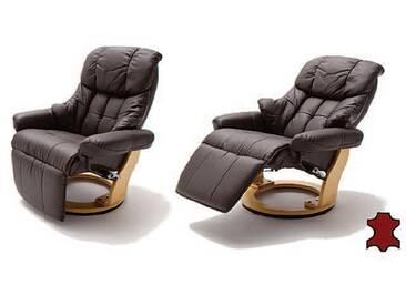MCA furniture Relaxsessel Calgary 2 64021BN5 Relaxer aus Leder/PVC braun Gestell und Drehteller naturfarben