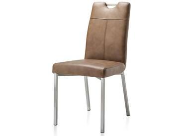Habufa Leon Stuhl Highland Leder mit Griff und 4-Fuß-Gestell Ausführung wählbar 4-Fuß-Stuhl für Ihr Esszimmer