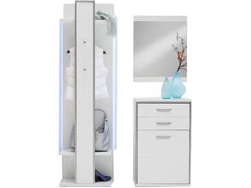 MCA Furniture Trento Garderobenkombination 1 Front Hochglanz weiß Korpus weiß Nachbildung mit Rahmen in Edelstahloptik für Ihren Flur