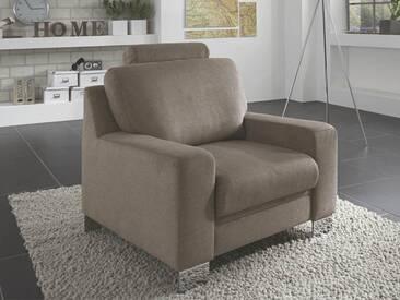 Zehdenick Sessel Allround inklusive Kopfstütze im Bezug Miro stone PG D mit Metallfuß