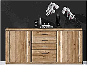 IDEAL-Möbel Bruel Sideboard passend zu Wohnkombination für Wohnzimmer Wohnwand teilmassiv Front in Eiche Bianco Lamelle Massivholz geölt Korpus Eiche bianco foliert