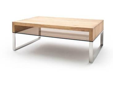 MCA Furniture Couchtisch Hilary 58864AZ7 aus Eiche massiv Sicherheitsglas bronze farbig für Ihr Wohnzimmer