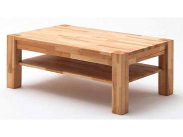 MCA Furniture Couchtisch Peter 58703 Kernbuche geölt und gewachst Massivholz keilverzinkt 105 x 65 cm mit Ablageplatte und sichtbare Stollen