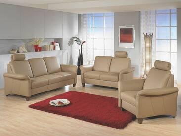 Polinova Sofagarnitur 3-teilig Jackson L 3-Sitzer 2-Sitzer und Sessel inklusive 3 Kopfstützen in Echtleder Ausführung wählbar