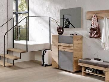 Voglauer V-Organo Dielenvorschlag 28 vierteilige Kombination in Wildeiche rustiko schwarz für Garderobe mit Bank Kommode Garderobenpaneel und Spiegel