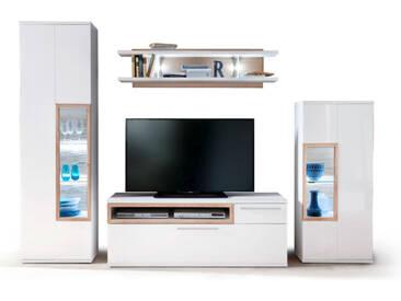 MCA Furniture Wohnwand Pamplona Wohnkombination PAM95W01 Kombination I Ausführung Front und Korpus weiß mit Absetzung Riviera Eiche Nachbildung
