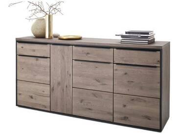 MCA furniture Avignon Sideboard AVI15W03 Front Ast-Eiche Massivholz für Ihr Wohnzimmer oder Esszimmer mit 4 Holztüren und 3 Schubkästen