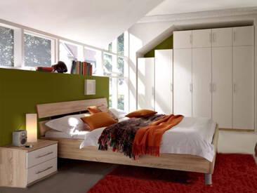 Priess Varia komplettes Schlafzimmer bestehend aus Bett  4-türiger Kleiderschrank Nachtschränke mit 2 Schubkästen, Überbau für Kleiderschrank