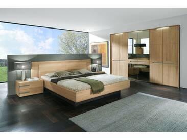 Thielemeyer Casa Massivholz Schlafzimmer Komfort Liegenbett Kopfteil mit Holzfüllung Kleiderschrank mit Spiegel sowie Nachtkonsolen