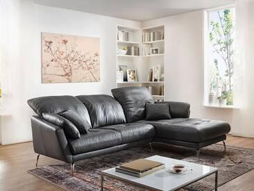 Willi Schillig Softy Plus 12311 Eckcouch mit Longchair rechts und 2 Sitzer Sofa groß mit Kopfstützensverstellung Seitenteilkissen und chromglänzenden Metallfüßen Bezug wählbar