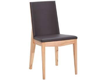 Dkk Klose Kollektion Stuhl S16 massiver Holzstuhl 7390 für Esszimmer mit festem Schaumstoffpolster im Sitz und Rücken in vier Hölzern und verschiedenen Beiztönen sowie in hochwertigen Bezügen wählbar