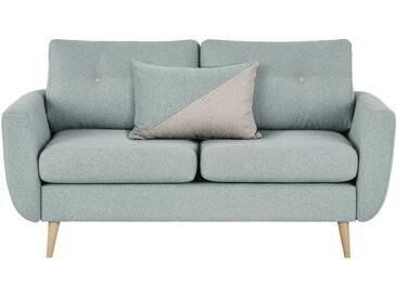 finya Kleines Retro-Sofa 2-sitzig mintgrün - Webstoff Harris ¦ grau ¦ Maße (cm): B: 161 H: 85 T: 92 » Höffner