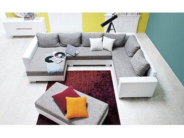 smart Wohnlandschaft weiß/grau - Kunstleder/Webstoff Anne ¦ grau ¦ Maße (cm): B: 320 T: 212 » Höffner