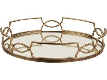 Tablett ¦ gold ¦ Metall, Glas  ¦ Maße (cm): H: 7,3 Ø: [40.3] » Höffner