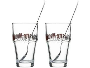 LEONARDO Latte Macchiato Gläser 4-teilig  Solo ¦ transparent/klar ¦ Glas ¦ Maße (cm): B: 17,5 H: 14,7 T: 8,7 » Höffner