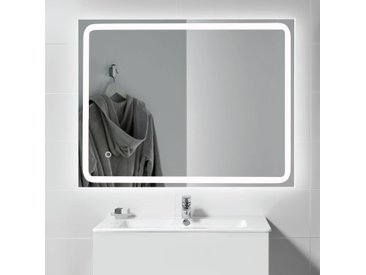 kalb | LED Spiegel PIA 60x80 cm Badspiegel beleuchtet Lichtspiegel Badezimmer Wandspiegel Aluminium