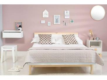 Bett XO 160x200cm - Weiß und Natur