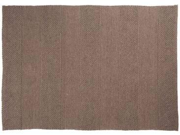 Paras: 250cm x 300cm naturbrauner Flachgewebeteppich, graue Designerteppiche, groß