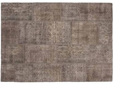 Elif: 300cm x 400cm Natürliche Braun Oriental Patchwork Teppich Klein oder Groß Größe Custom-Made in Turkey