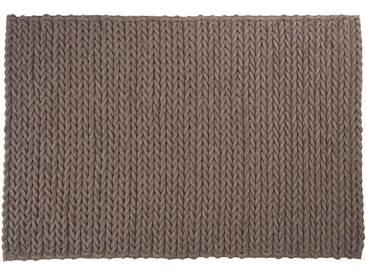 Anil: 170cm x 240cm gestrickter Teppich, graue Wollteppiche, dänisches Design, modern