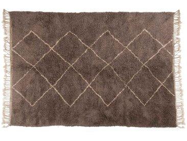 Aicha – grau: 300cm x 400cm Marokkanischer Berberteppich, grau, Rautenmuster, Beni Ourain